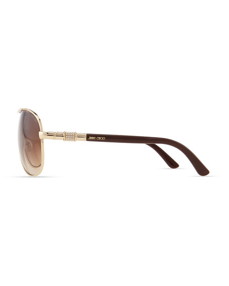 4db53172d2d Jimmy Choo Walde Crystal-Temple Aviator Sunglasses