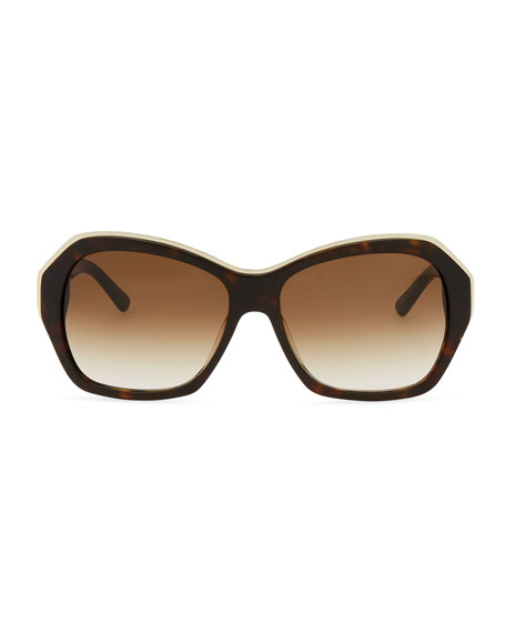 gianna rounded-square gradient sunglasses, tortoise