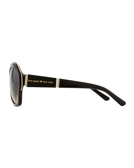 gianna rounded-square gradient sunglasses, tortoise