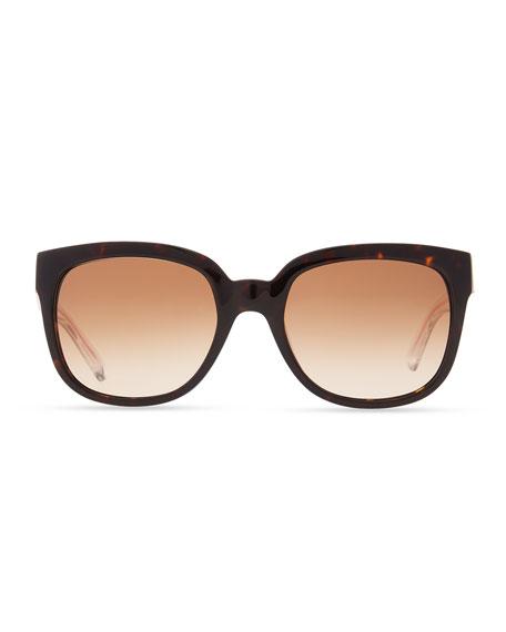 Clear-Arm Gradient Sunglasses, Havana/Orange
