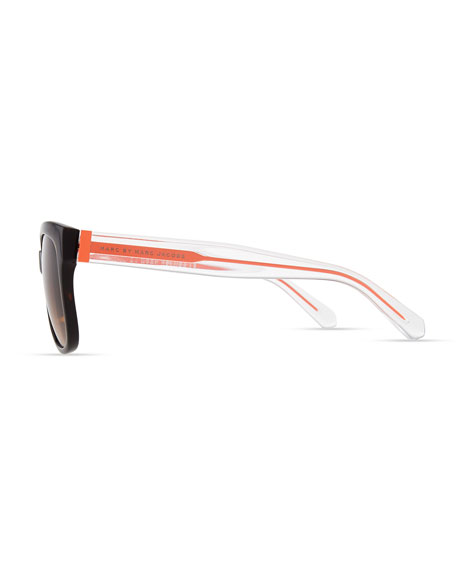 Clear-Arm Gradient Sunglasses, Havana/Orange