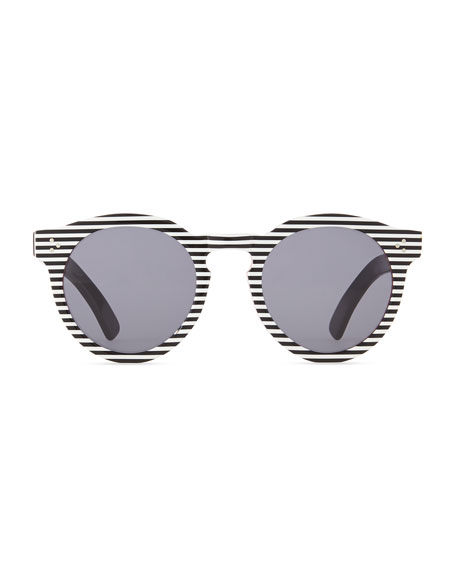Leonard II Striped Sunglasses, Black/White