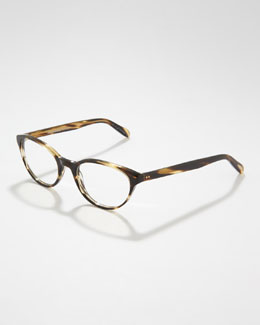 Oliver Peoples Lilla Thin Cat-Eye Fashion Glasses, Cocobolo