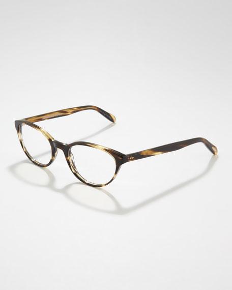 Lilla Thin Cat-Eye Fashion Glasses, Cocobolo