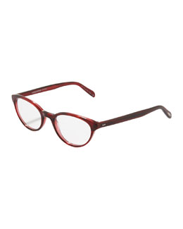 Oliver Peoples Lilla Thin Cat-Eye Fashion Glasses, Red Havana