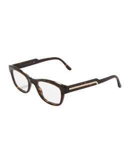 Stella McCartney Rectangular Fashion Glasses, Dark Tortoise