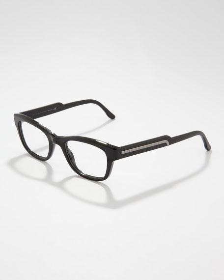 Rectangular Fashion Glasses, Black