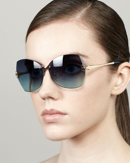 Tory Burch Rimless Butterfly Sunglasses, Blue