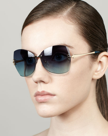 Rimless Butterfly Sunglasses, Blue