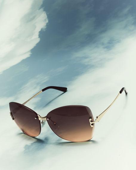 Rimless T-Temple Sunglasses, Gray/Orange