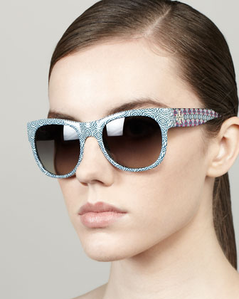 Geometric-Print Rectangle Sunglasses, Navy/White