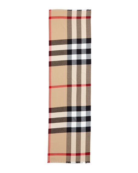 Luxe Fine Check Cashmere Scarf, Camel