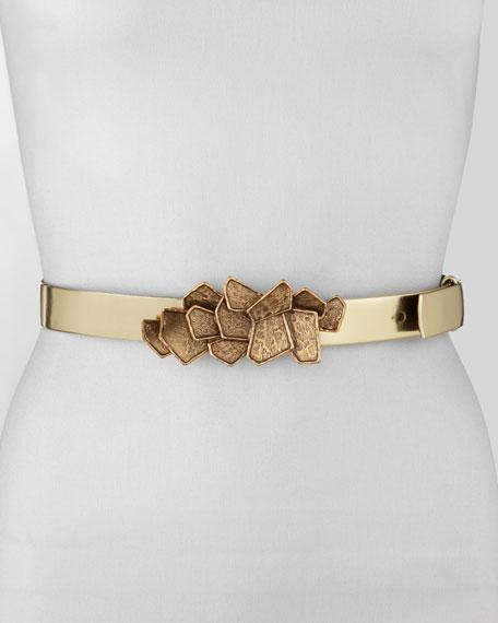 Brassy-Buckle Metallic Leather Belt, Gold