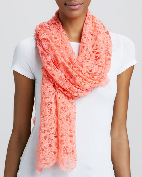 Lace Crochet Scarf, Melon