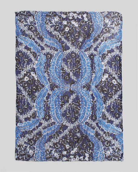 Ruffle-Print Scarf, Marine Blue