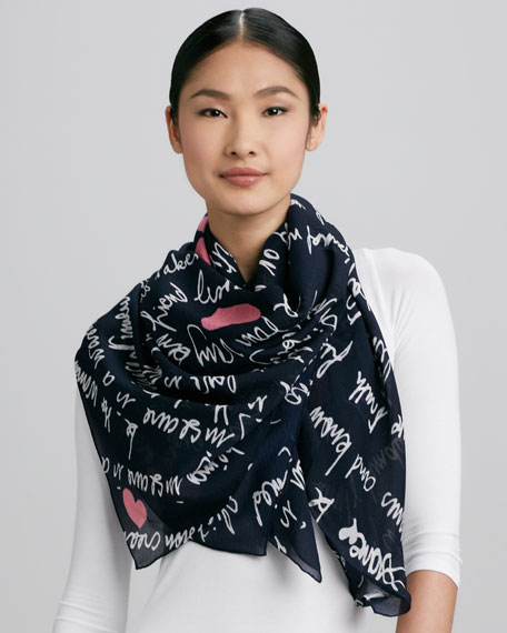 Braden Heart Mantras Square Scarf, Navy