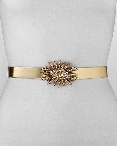 Crystal-Buckle Metallic Leather Belt, Gold