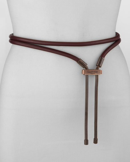 Leather Clasp Lariat Belt, Prune