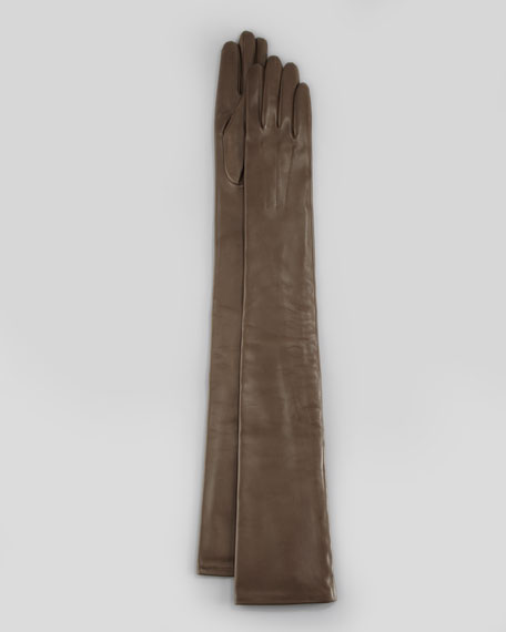 Lambskin Opera-Length Gloves, Taupe
