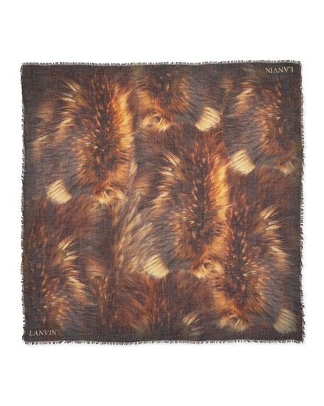 Fur-Print Scarf, Brown