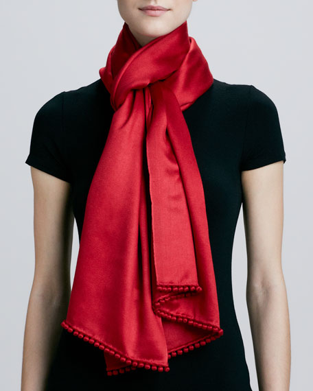 Satin Scarf with Pompom Trim, Red