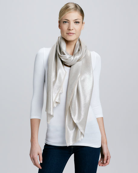Metallic Tight Weave Scarf, Beige