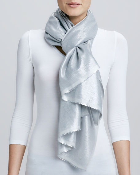 Metallic Tight Weave Scarf, Gray