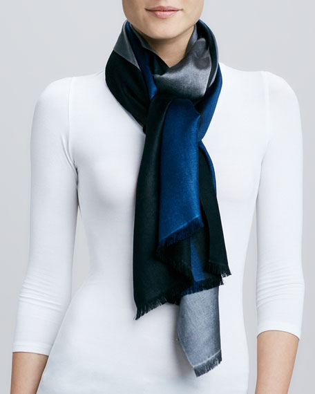 Horizontal Colorblock Scarf, Blue/Gray