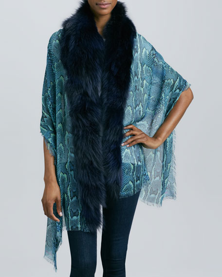 Printed Stole with Fox Fur Trim
