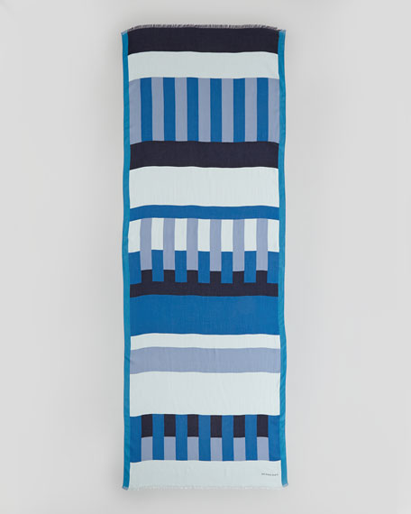 Multi-Stripe Print Scarf, Opal Blue