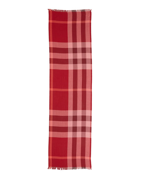 Cashmere Scarf, Coral Red Check