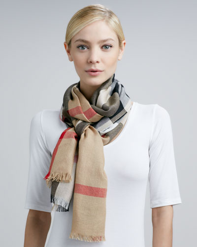 Burberry Lightweight Check Scarf, Camel