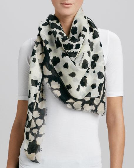 Animal-Print Square Scarf, Natural/White