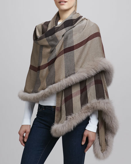 Fur-Trimmed Check Scarf