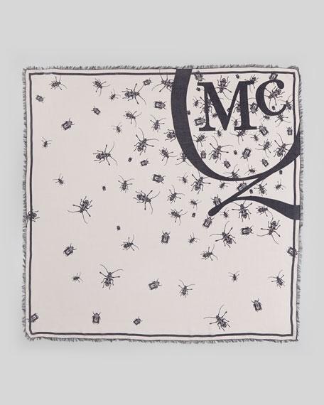 Swarming Beetle-Print Scarf, Rose/Black
