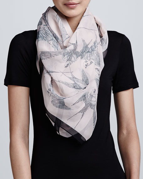 Swallow-Print Scarf, Rose/Black