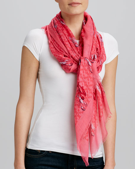 Allover T-Logo & Lobster Print Scarf, Bougainvillea Pink
