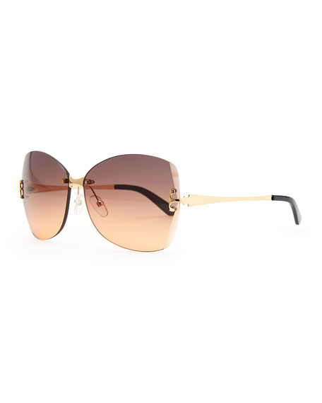 T-Temple Butterfly Sunglasses, Gold/Orange
