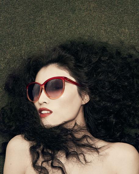 Josephine Ombre Enamel Sunglasses, Red/Beige