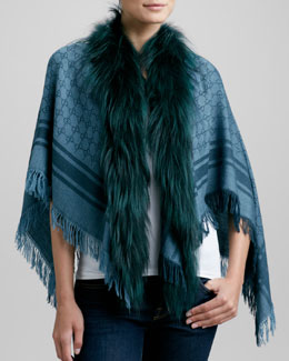 Gucci Fox Fur-Trim Shawl, Blue
