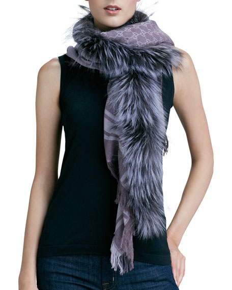 Fox-Trim Logo-Print Shawl, Purple