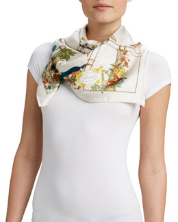 Gucci Gold Cage Foulard Scarf, White