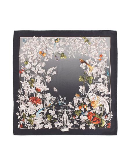 Foulard Wondergarden Silk Scarf, Anthracite