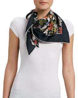 Gucci Foulard Wondergarden Silk Scarf, Anthracite