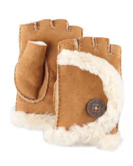 UGG Australia Mini Shearling Fingerless Gloves, Chestnut