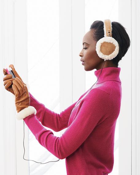 Leather &  Speaker/Headphone Earmuffs, Chestnut