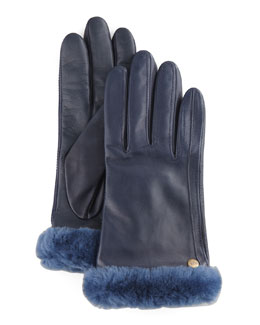 UGG Australia Fur-Trim Leather Smart Gloves, Dark Blue