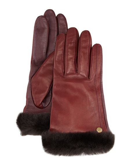 Classic Fur-Trim Leather Smart Gloves, Burgundy
