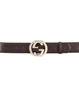 Gucci Guccissima Leather Belt with Interlocking G Buckle, Chocolate