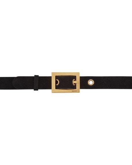 Adjustable Leather Belt, Black